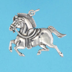 US made sterling silver Persian war horse pendant.