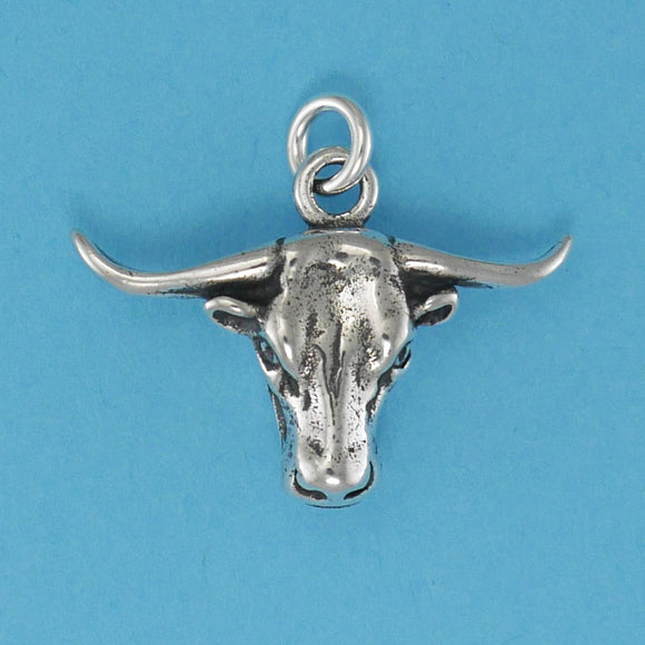 Sterling Silver Texas Longhorn Head Charm - Charmworks