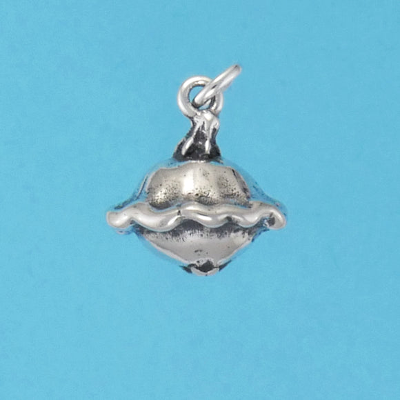 US made sterling silver patty pan squash charm.