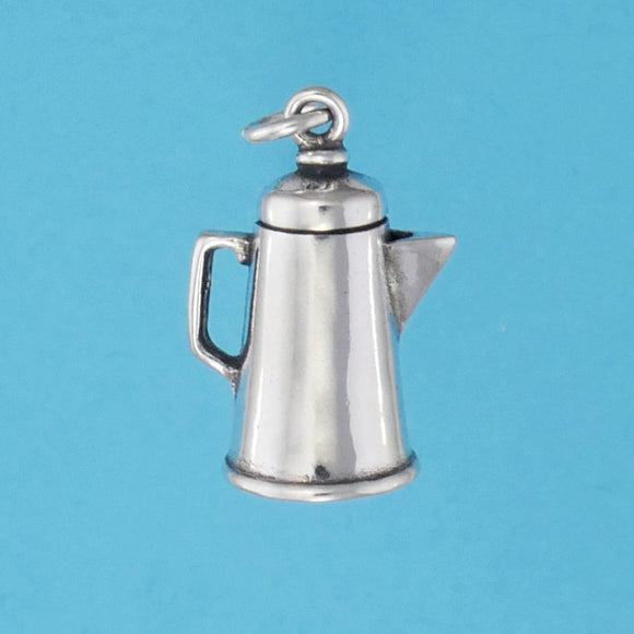 US made sterling silver coffee pot charm.