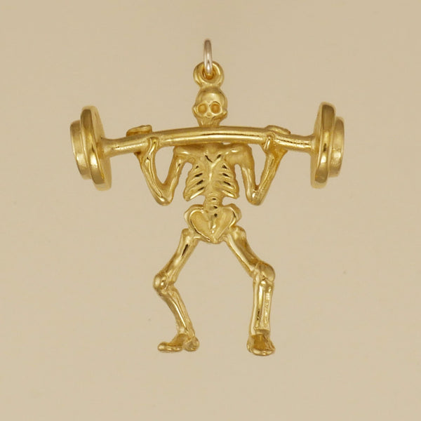 Gold Vermeil Weight Lifter Charm - Charmworks