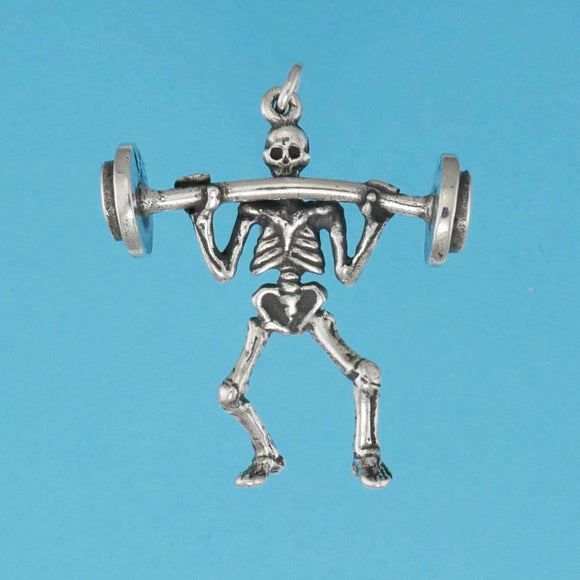 Sterling Silver Weight Lifter Charm - Charmworks