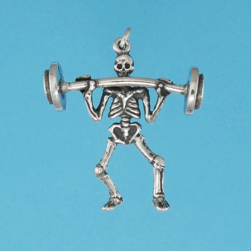 Weight Lifter Skeleton Charm - Charmworks