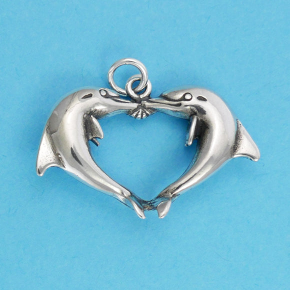 Dolphins Heart Charm - Charmworks