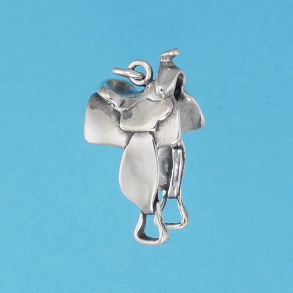 US made sterling silver western saddle charm.
