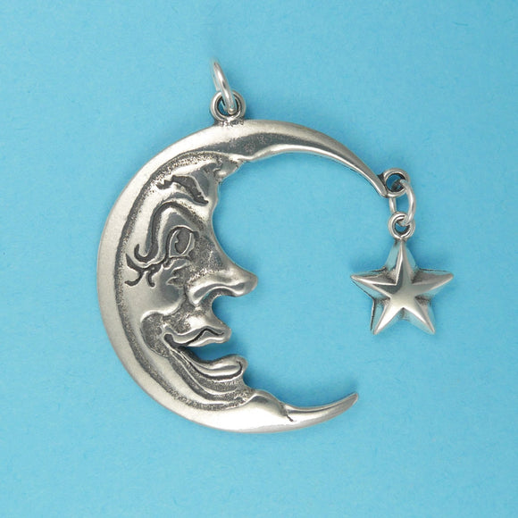 Sterling Silver Moon Face Pendant - Charmworks