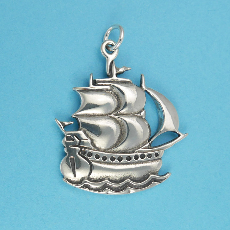Sterling Silver Sailing Ship Pendant - Charmworks