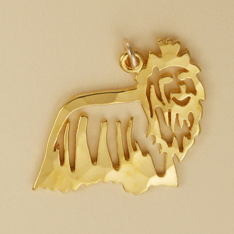 Hand hammered, US made gold vermeil yorkshire terrier charm.