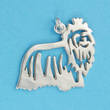 Hand hammered, US made sterling silver yorkshire terrier charm.