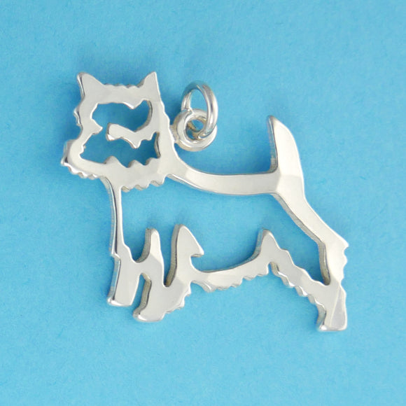 Hand hammered, US made sterling silver west highland white terrier charm.