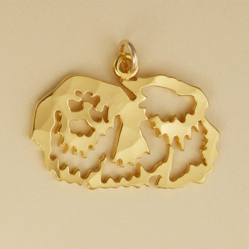Hand hammered, US made gold vermeil pekingese charm.