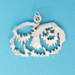Hand hammered, US made sterling silver pekingese charm.