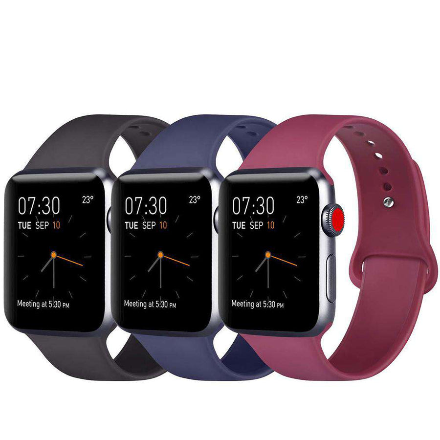 Cocoa Blue Red Classic Silicone Sports band for Apple Watch Series 1/2/3/4/5, - Veecircle Premium iwatch straps
