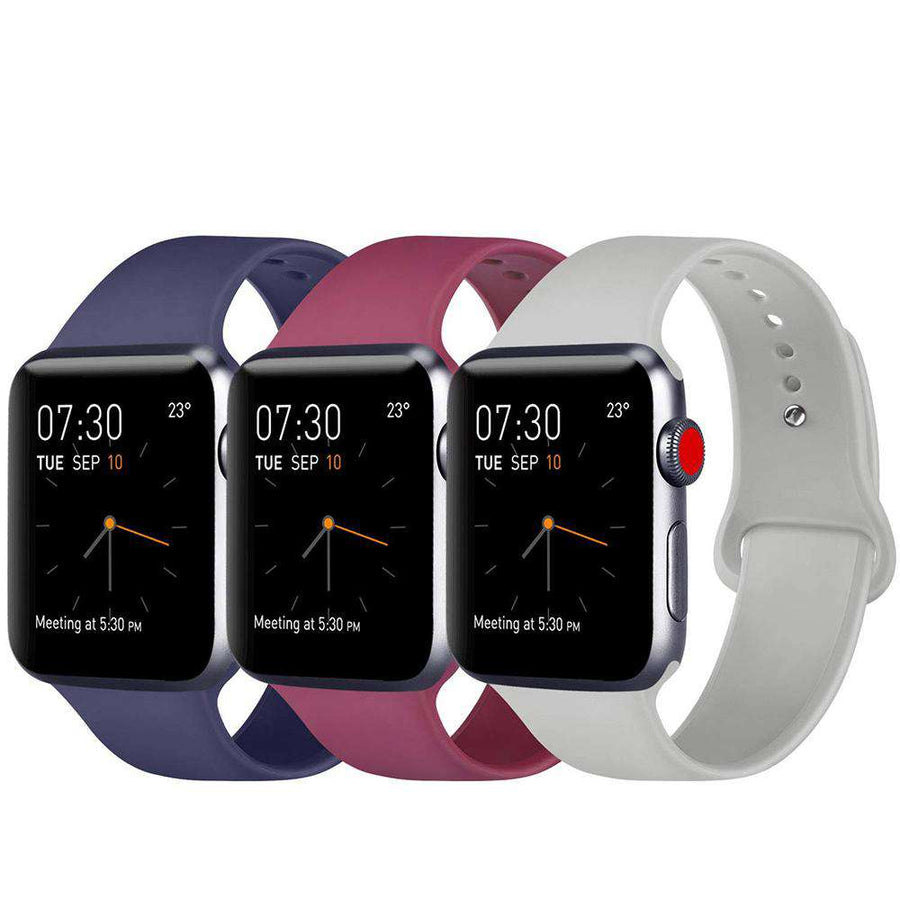Midnight Blue Red Lavender Classic Silicone iwatch sports band for Apple Watch Series 1/2/3/4/5 - Veecircle premium soft silicone band