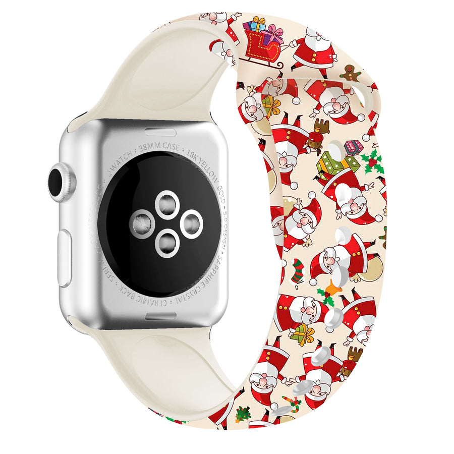 Funny cute Christmas Apple Watch strap colorful silicone band for women kids for 38mm 42mm Series 3 2 1