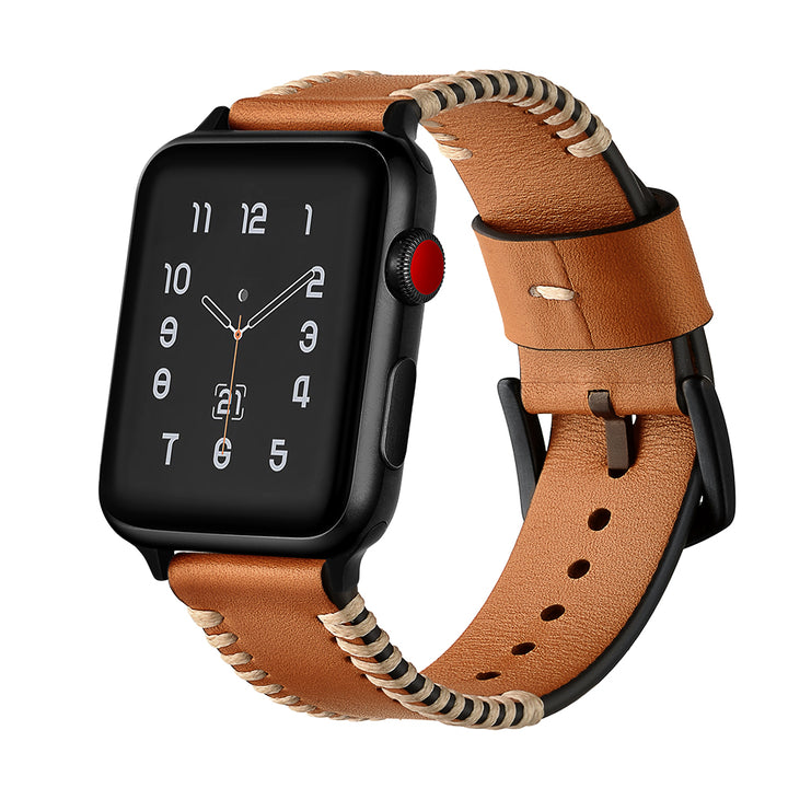Veecircle Pork Ribs Style Genuine Leather Strap Compatible With Apple Watch Series 1/2/3/4/5