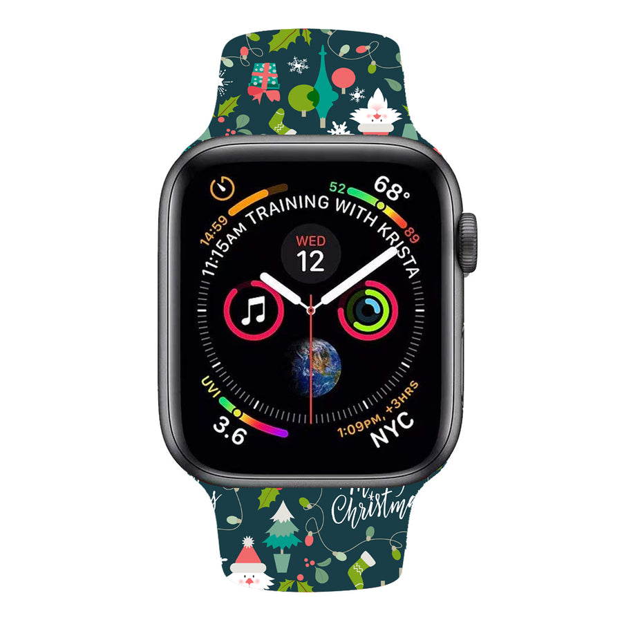 Veecircle Merry Christmas Silicone Strap, Compatible With Apple Watch Series 5/4/3/2/1