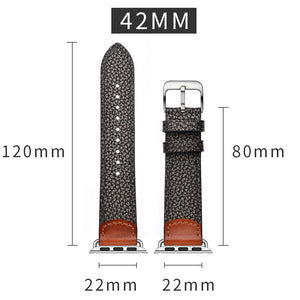 Veecircle stone pattern Leather Apple Watch Strap Compatible With Series 5 4 3 2 1