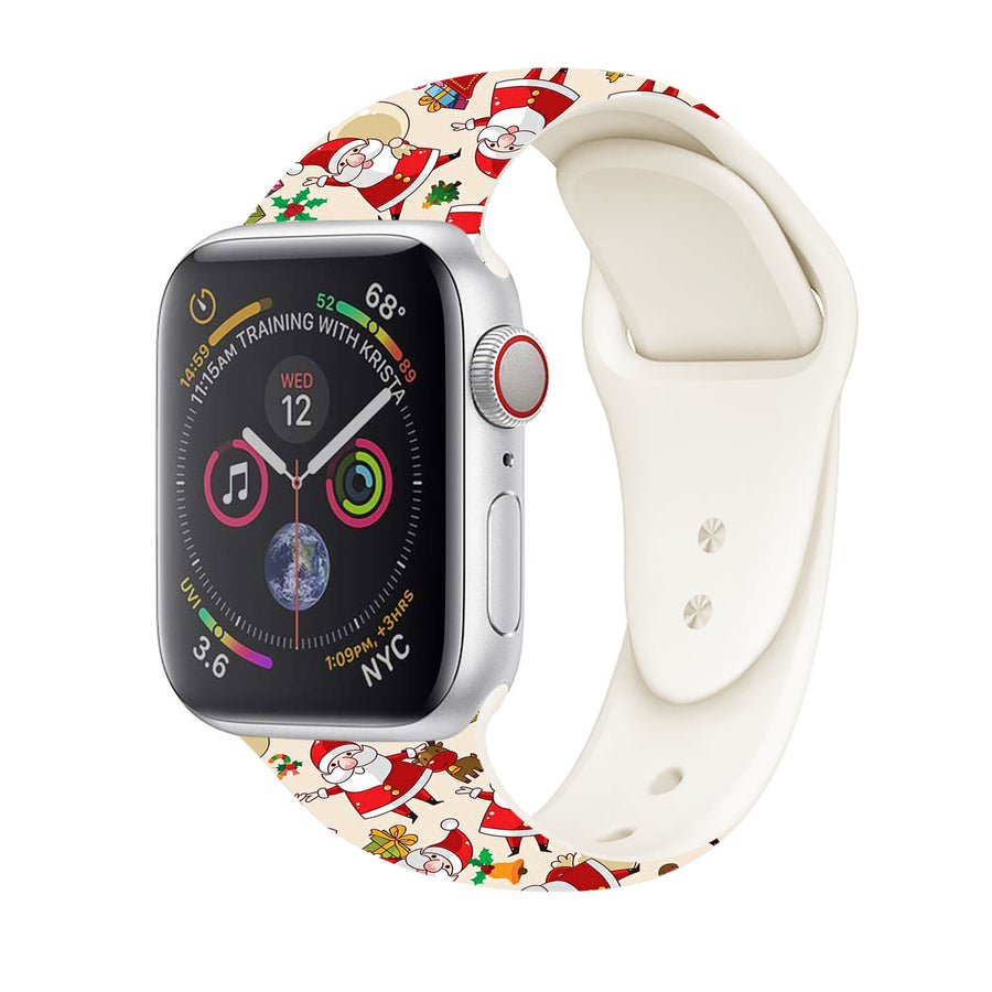 Christmas Apple Watch Band 38mm happy Santa Claus 42mm silicone band cute holiday gift