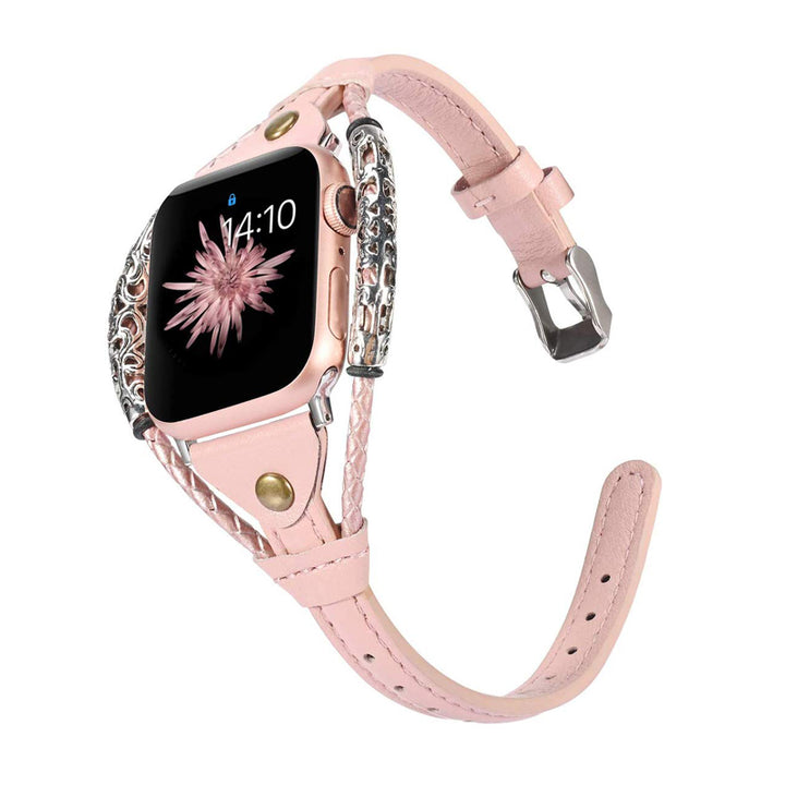 Pink Handmade Twist Strip Strap Genuine Leather Bracelet for Apple Watch 5 4 3 2 1