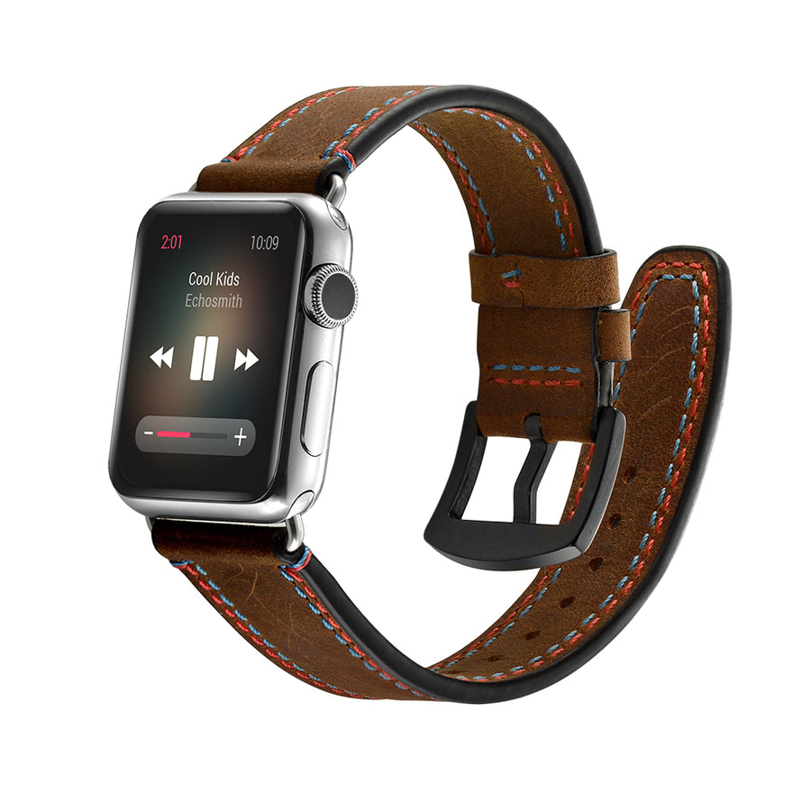 Veecircle Dual-color Stitching Genuine Leather Apple Watch Strap for Series 5 4 3 2 1