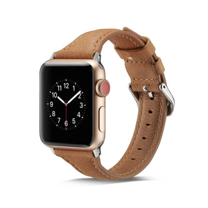 Brown thin leather Watch Strap for Apple Watch 5 4 3 2 1 on the iwatch