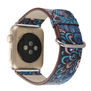 Compatible With Apple Watch Series 1/2/3/4, Colorful Retro Floral Leather - Veecircle
