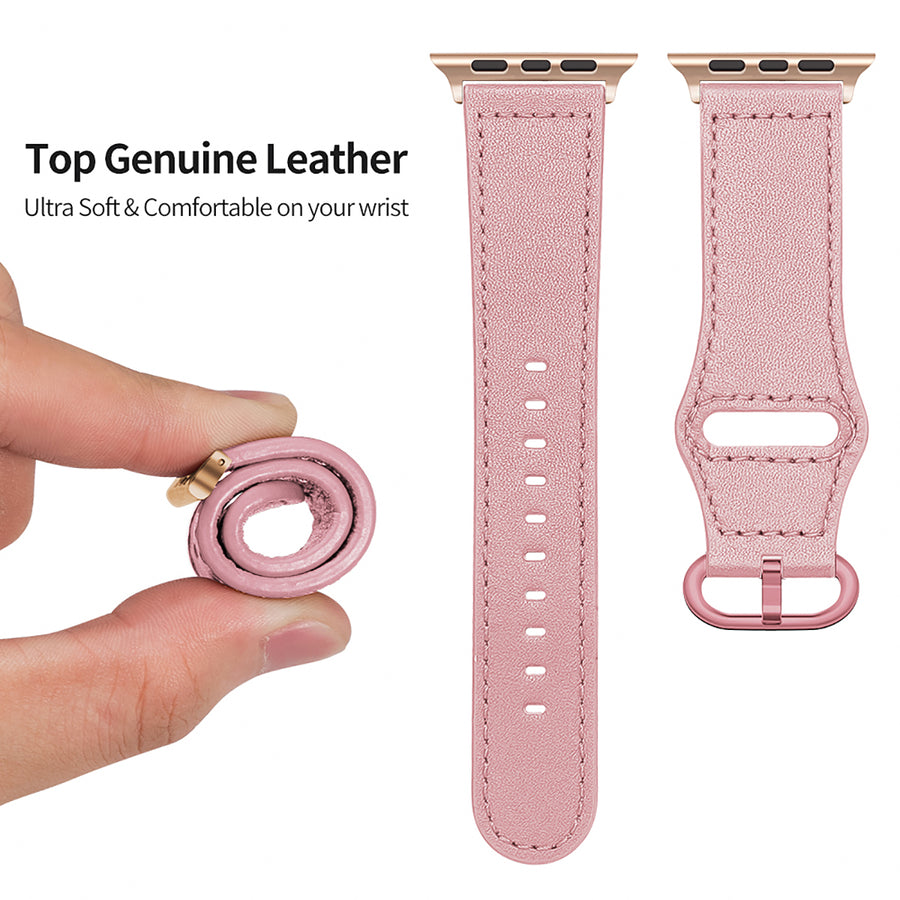 Veecircle Genuine Leather Strap Silicone Buckle Band for Apple Watch Series 5 4 3 2 1