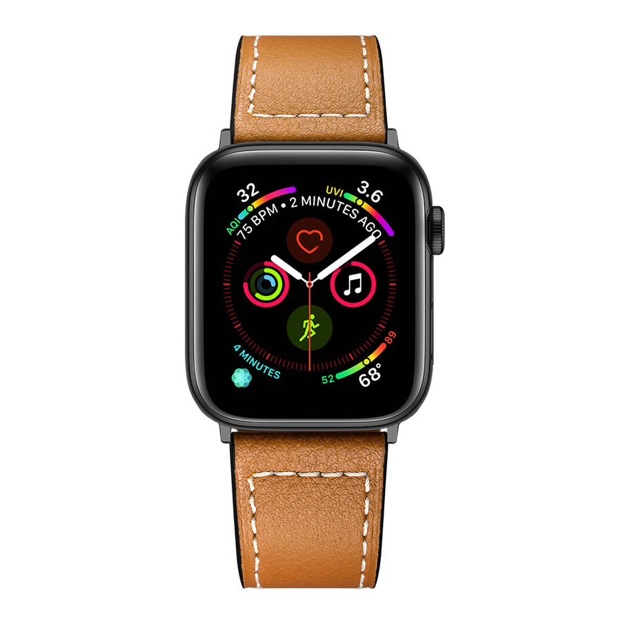 Veecircle Classic Stitching Leather Apple Watch Strap Compatible With Series 5 4 3 2 1