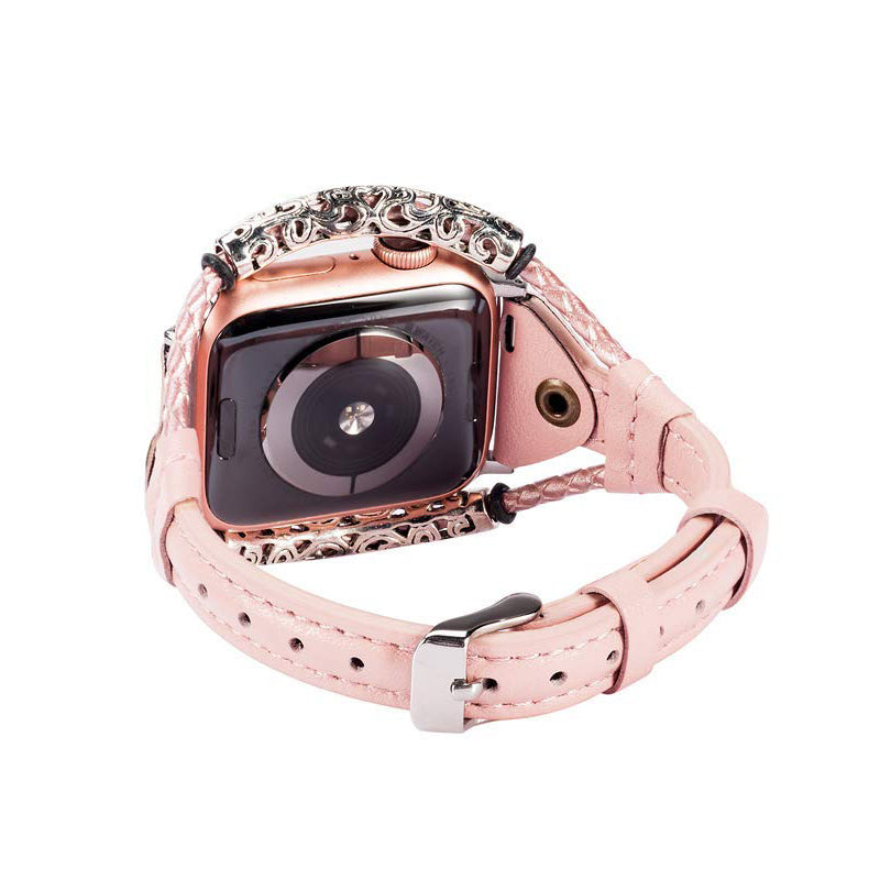 Veecircle Handmade Twist Strip Strap Genuine Leather Bracelet for Apple Watch 5 4 3 2 1