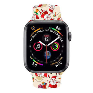 Cute Christmas Apple Watch Strap 38mm black face silicone band 42mm