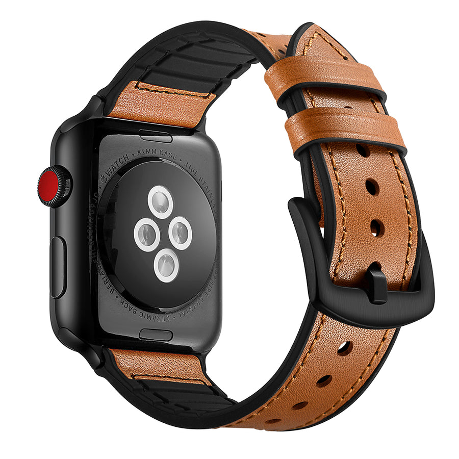 Veecircle Leather Silicone Dual-Layer Apple Watch Band for Series 5 4 3 2 1