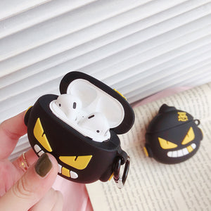 Cartoon Monster Devil Eyes Airpod Case Silicone Hook Protective For Apple AirPods