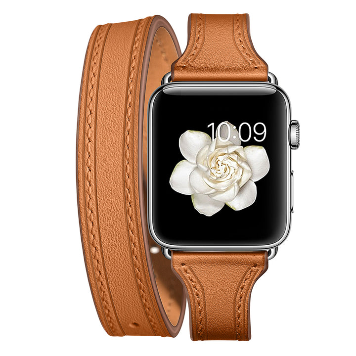 Veecircle Geninue Leather Band Double Tour Bracelet Leather Strap for Apple Watch 5 4 3 2 1