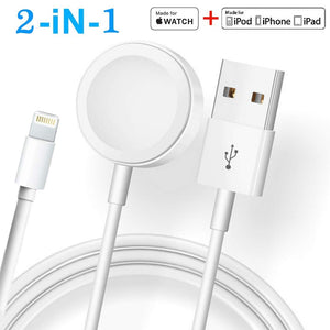 2 in 1 For Apple watch Charger & iPhone cable iwatch Magnetic Charging Cable