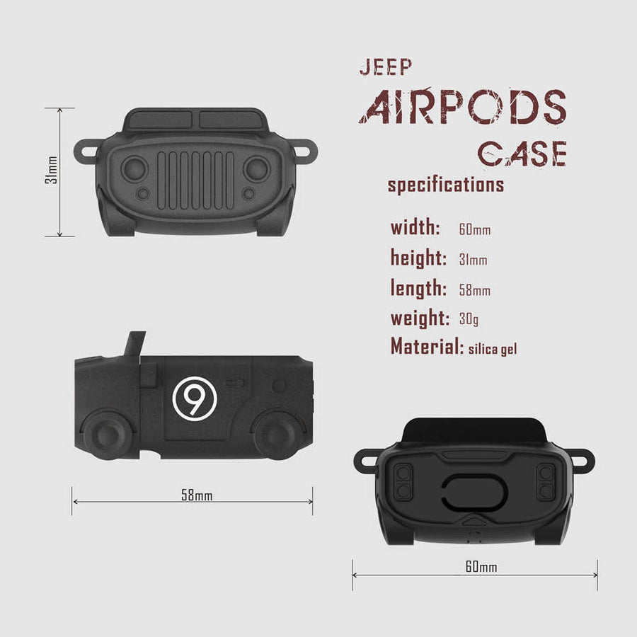 Retro Car Airpod Case Silicone Hook Protective For Apple AirPods