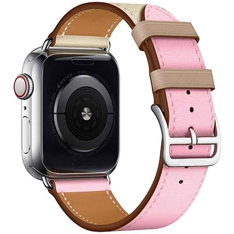 Veecircle Colorblock Leather Strap Compatible With Apple Watch Series 1/2/3/4/5