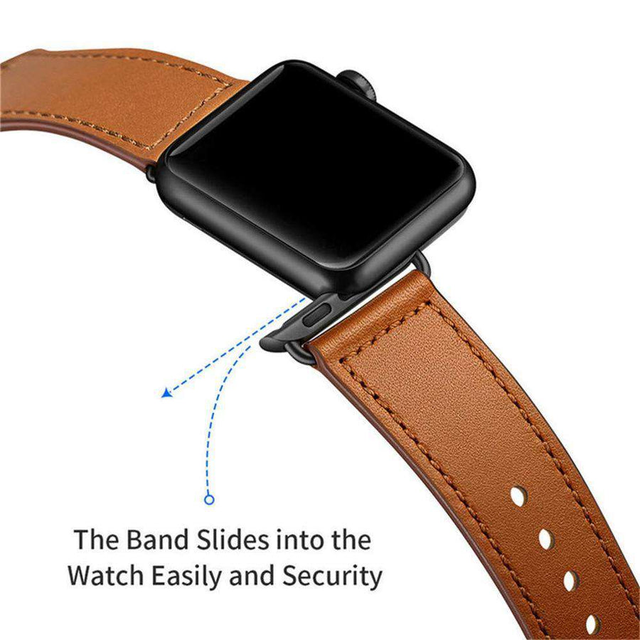 Compatible With Apple Watch Series 1/2/3/4, Genuine Leather Loop Strap - Veecircle