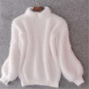 Thickened Warm Turtleneck Mohair  Sweater