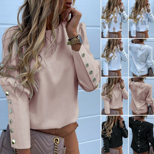 Women Blouse Long Sleeve Back Metal Buttons