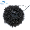 Afro Kinky Curly Ponytail Natural Black Remy Hair 1 Piece Clip 100% Human Hair Extension