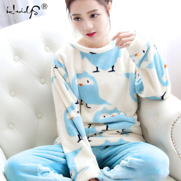 Pyjamas Set Thick Warm Long Sleeve