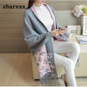 Poncho Long Batwing Sleeve Knitted Cardigans