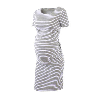 Maternity Dress Ruched 3 quarter Sleeve Bodycon