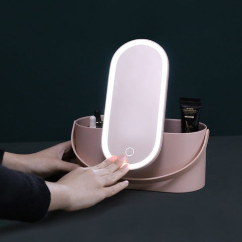 Creative 2 In 1 Cosmetic Storage Box Portable Makeup Case Makeup Mirror With Led Light