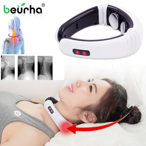 Electric Pulse Back Neck Massager Far Infrared Heating Pain Relief