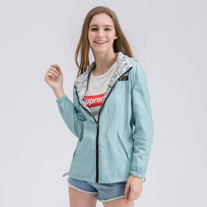 Women Bomber Basic Jacket Pocket Zipper Hooded Two Side Wear