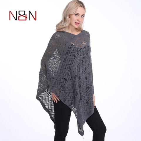 Poncho Thin Sweater Hollow Out Cardigan Plus Size Pullovers
