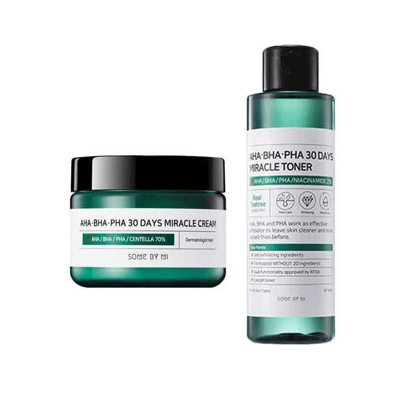 SOME BY MI AHA BHA PHA 30 Days Miracle Cream + 30 Days Miracle Essence Face Care Blackheads Remove Acne Treatment Exfoliating