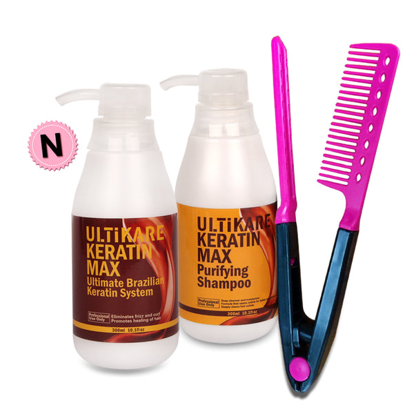300ml 5% Formalin Brazilian Keratin Treatment +300ml Purifying Shampoo+Free Red Comb